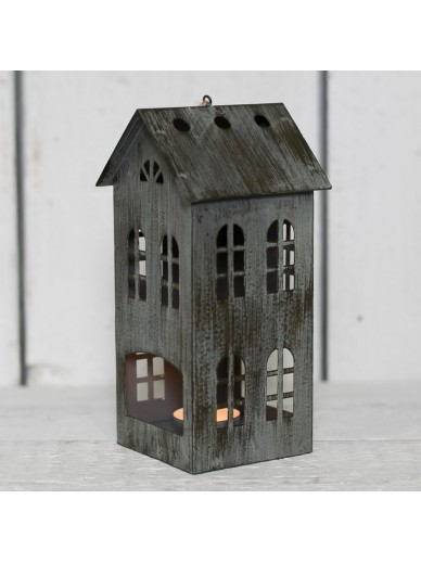 GREY DISTRESSED METAL HOUSE T LIGHT HOLDER 16.5CM
