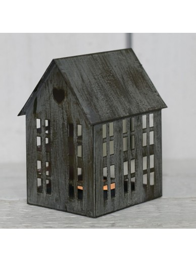 GREY DISTRESSED METAL HOUSE T LIGHT HOLDER 13CM