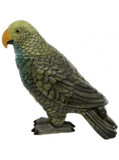 Green Parrot Ceramic Jar