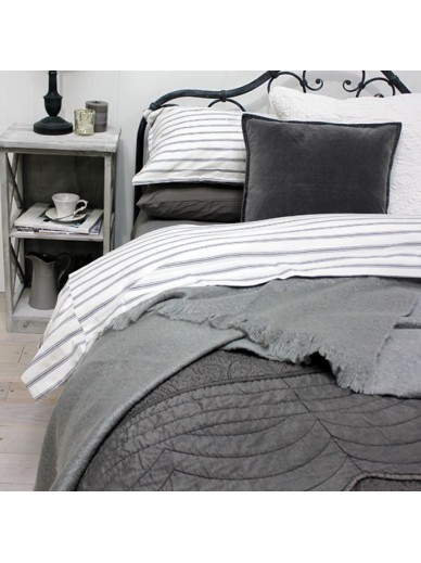 Grey ticking duvet cover set KING