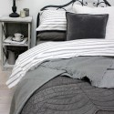 BIGGIE BEST Grey ticking duvet cover set KING