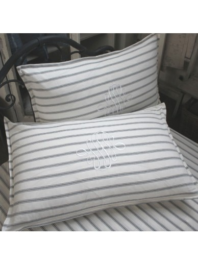 Set of 2 grey ticking pillowcases