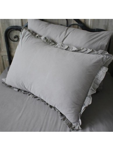 BIGGIE BEST Set of Two Grey Frill Pillowcases