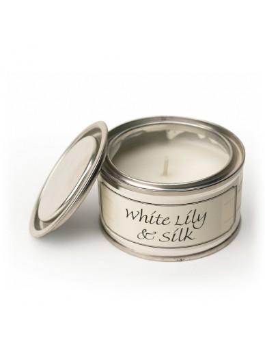 WHITE LILY & SILK FILLED TIN