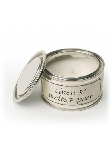 LINEN & WHITE PEPPER FILLED TIN
