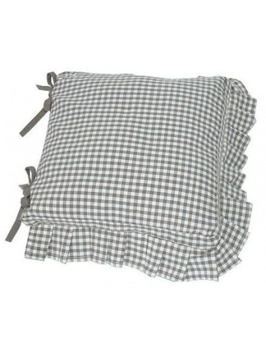 Auberge Seat Pad with frill & ties COBBLE