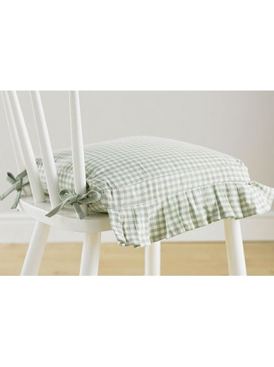 Auberge cushion cover frill & ties COBBLE