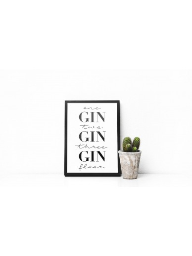 A4 FRAMED PRINT : ONE GIN, TWO GIN, THREE GIN, FLOOR