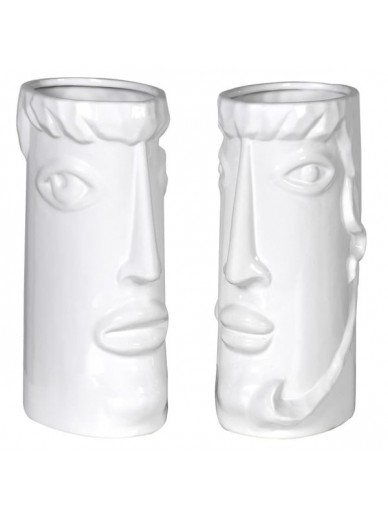Set of 2 Faces Ceramic Vases