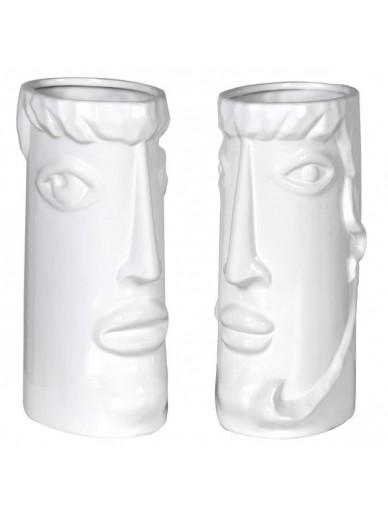 Set of 2 Faces Ceramic Vases