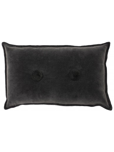 BOHO BOBBLE Velvet Cushion Charcoal