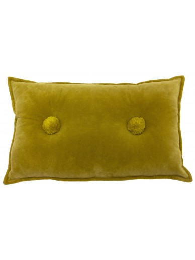 BOHO BOBBLE Velvet Cushion Ochre
