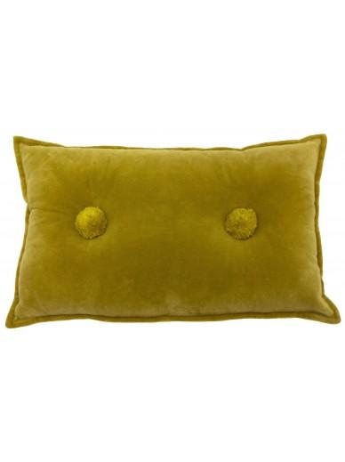 BOHO BOBBLE Velvet Cushion Ochre