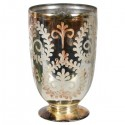 Etched Gold Distressed Glass Hurricane