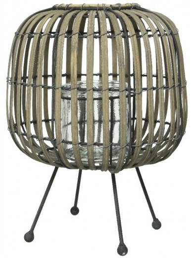 Iron Footed Bamboo Candle Holder