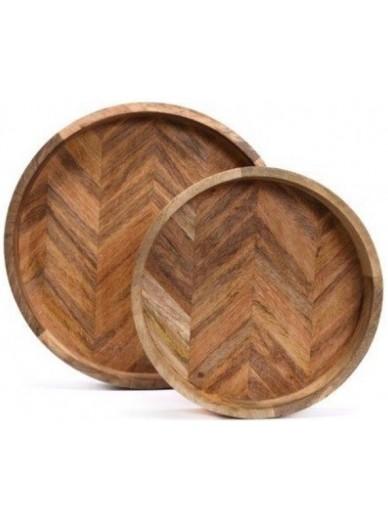 Herringbone Round Wooden Tray SMALL