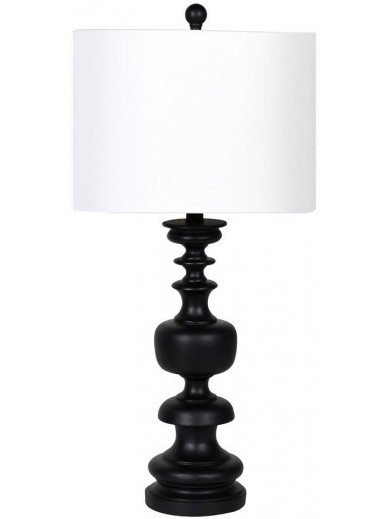 Black Turn Wood Style Lamp With White Shade