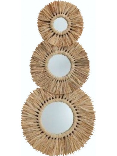 Set of 3 Seagrass Mirrors