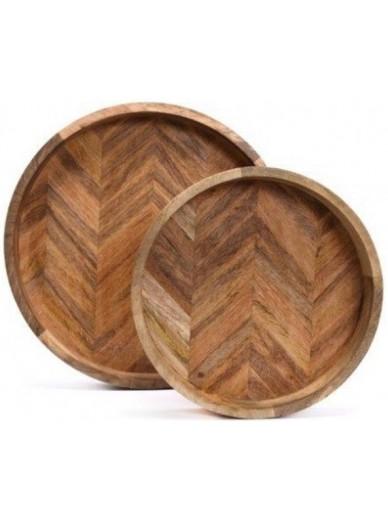 Set of 2 Herringbone Round Wooden Trays