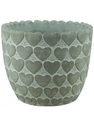 Whitewashed Pot with Heart Design 15cm