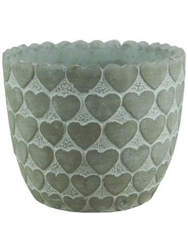 Whitewashed Pot with Heart Design 13cm