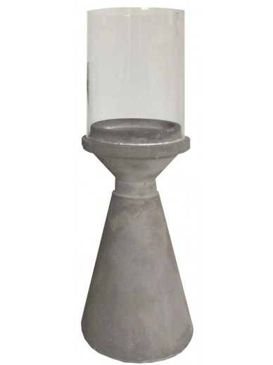 Concrete Candle Holder With Glass Top 20.5cm