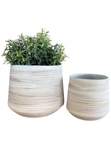 Natural Ribbed Pots Set of 2