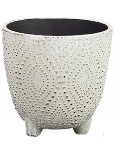OFF WHITE DOTTED PLANT POT, 14cm
