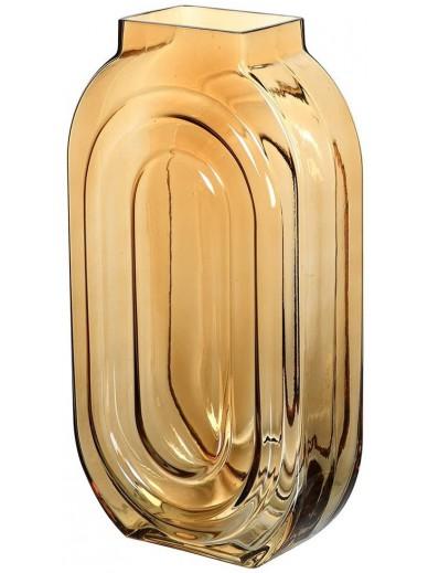 Tall Amber Glass Vase