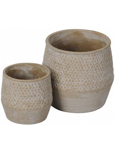 Set of 2 Rustic Vases / Planters