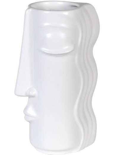 White Face Vase With Hair