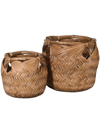 Set of 2 Woven Bamboo Baskets