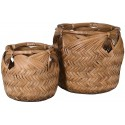 Set of 2 Woven Bamboo Baskets