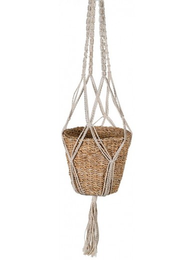 Macrame and Seagrass Hanging Basket