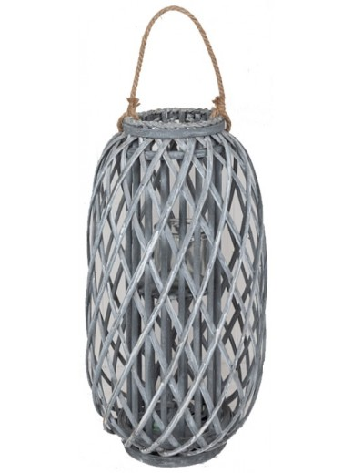 GREY WOVEN LANTERN WITH ROPE HANDLE 49CM
