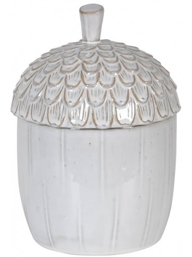 White Ceramic Acorn Jar