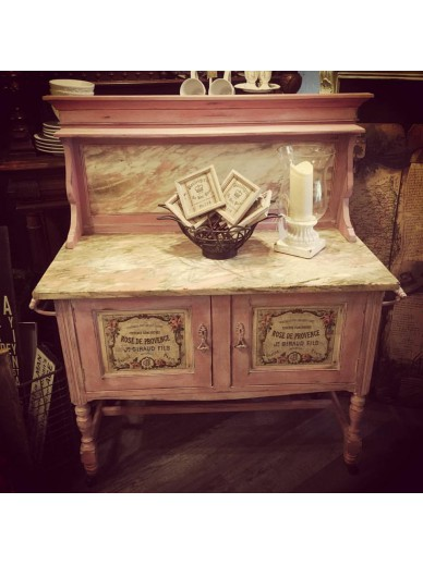 SCANDINAVIAN PINK MARBLE TOP WASH STAND